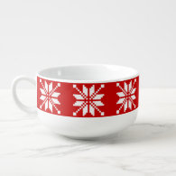 Snowflake Xmas Pattern Soup Bowl With Handle