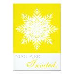 Snowflake yellow, white winter wedding invitation