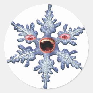 Snowflake Zombie! Distressed Round Stickers