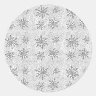 Snowflakes 1 - Grey B&W Classic Round Sticker