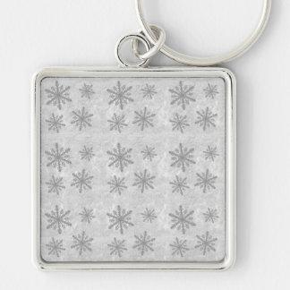 Snowflakes 1 - Grey B&W Keychain