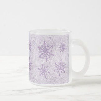 Snowflakes 1 - Purple Frosted Glass Coffee Mug