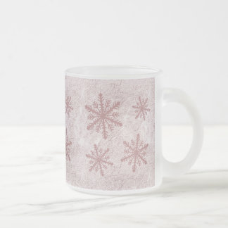 Snowflakes 1 - Red Frosted Glass Coffee Mug