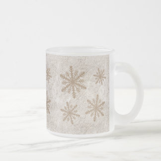 Snowflakes 1 - Sepia Frosted Glass Coffee Mug