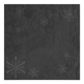 "Snowflakes 4 - Original Dark Grey Invites 5.25"" Square Invitation Card"