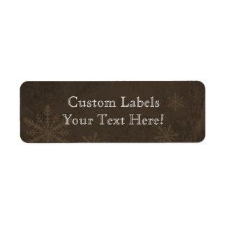 Snowflakes 4 - Original Dark Sepia Custom Labels
