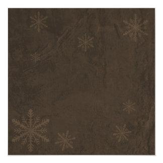 """Snowflakes 4 - Original Dark Sepia Invites 5.25"""" Square Invitation Card"""