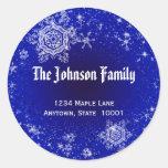 Snowflakes Address Label Classic Round Sticker