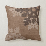 Snowflakes against Rustic Faux Burlap Holiday Chic Throw Pillow