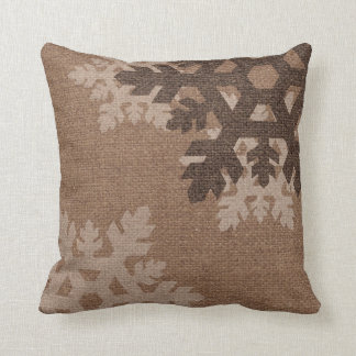 Snowflakes against Rustic Faux Burlap Holiday Chic Pillow