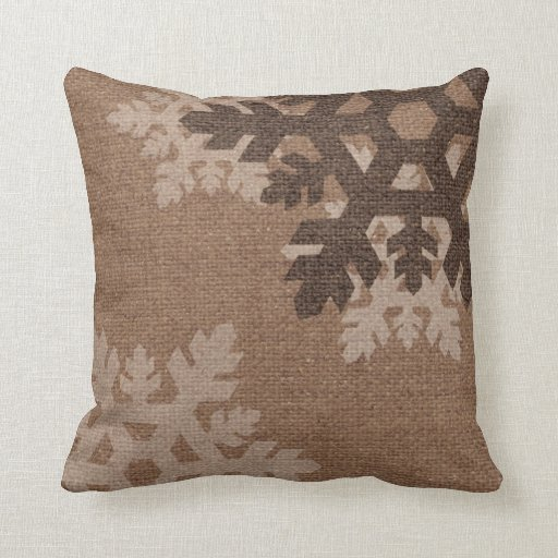 Snowflakes Against Rustic Faux Burlap Holiday Chic Throw