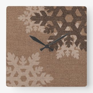 Snowflakes against Rustic Purple - Holiday Chic Square Wall Clocks