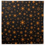 Snowflakes – Amber on Black Printed Napkins