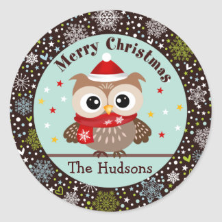 Snowflakes and Baby Owl Christmas Stickers
