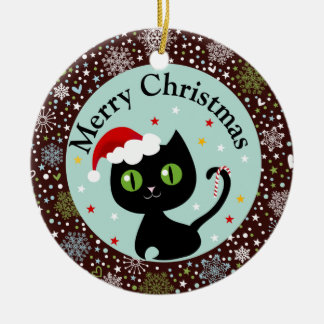 Snowflakes and Black Kitty Christmas Ornament
