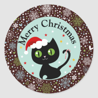 Snowflakes and Black Kitty Christmas Stickers
