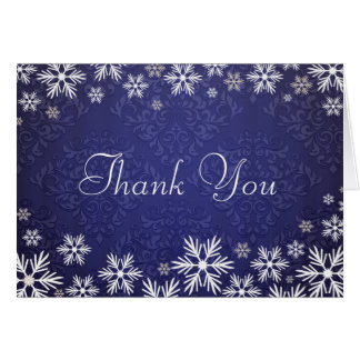 Snowflakes and Blue Damask Thank You Cards