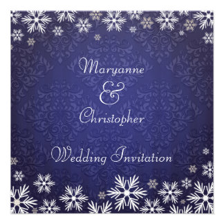 Snowflakes and Blue Damask Wedding Personalized Announcement