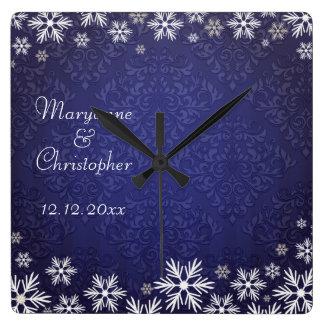 Snowflakes and Blue Damask Wedding Memento Square Wallclock