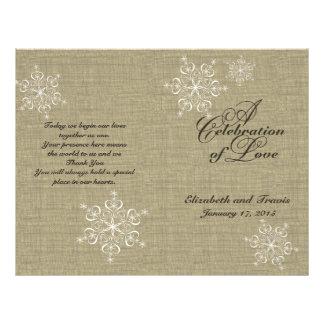 Snowflakes and Burlap Wedding Program Flyer Design