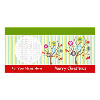 Snowflakes And Cardinals On Tree Photo Cards