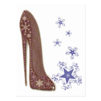 Snowflakes and Christmas Stiletto Shoe Art Gifts Postcard