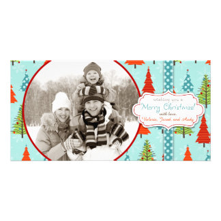 Snowflakes and Christmas Tree Forest Photo Card