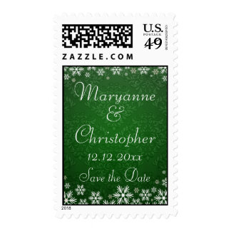 Snowflakes and Green Damask Save the Date Postage Stamp