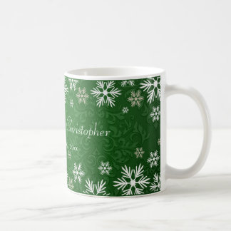 Snowflakes and Green Damask Wedding Coffee Mug