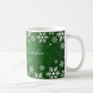 Snowflakes and Green Damask Wedding Coffee Mug