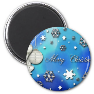 Snowflakes and Ornaments, Merry Christmas 2 Inch Round Magnet