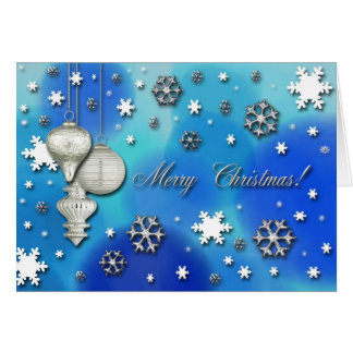 Snowflakes and Ornaments, Merry Christmas Greeting Card
