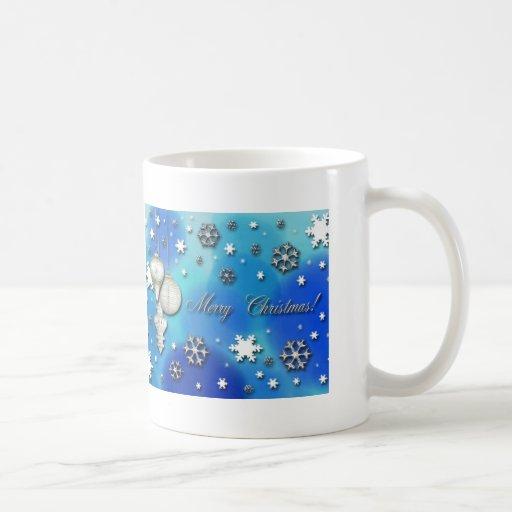 Snowflakes and Ornaments, Merry Christmas Classic White Coffee Mug