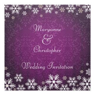 Snowflakes and Purple Damask Wedding Invites