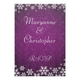 Snowflakes and Purple Damask Wedding RSVP Personalized Invites