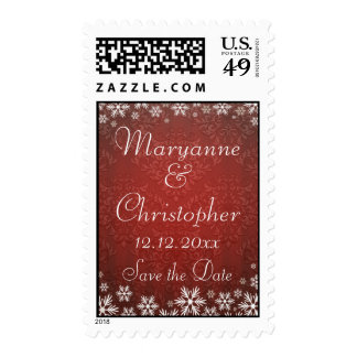 Snowflakes and Red Damask Save the Date Postage Stamps