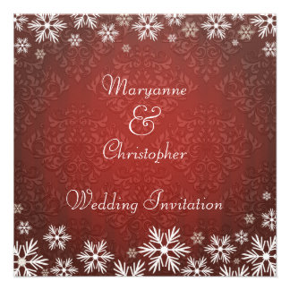 Snowflakes and Red Damask Wedding Personalized Invitation
