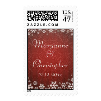Snowflakes and Red Damask Wedding Postage
