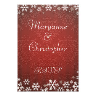 Snowflakes and Red Damask Wedding RSVP Custom Invitations