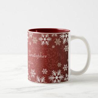 Snowflakes and Red Damask Wedding Two-Tone Coffee Mug