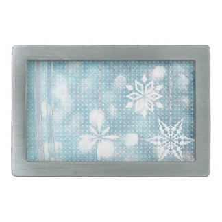 Snowflakes and Ribbons in Aqua Green Lights Belt Buckles