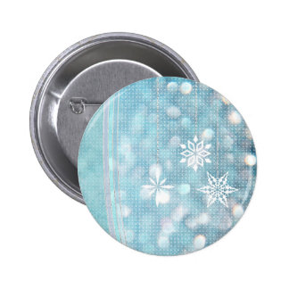 Snowflakes and Ribbons in Aqua Green Lights Button