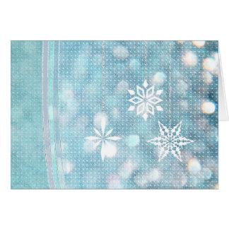 Snowflakes and Ribbons in Aqua Green Lights Card