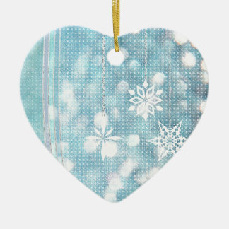 Snowflakes and Ribbons in Aqua Green Lights Ceramic Ornament