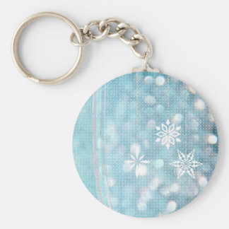 Snowflakes and Ribbons in Aqua Green Lights Key Chains