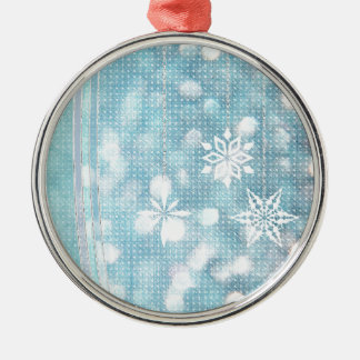 Snowflakes and Ribbons in Aqua Green Lights Metal Ornament