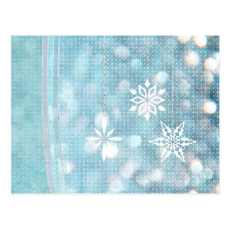 Snowflakes and Ribbons in Aqua Green Lights Postcards