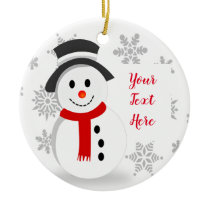 Snowflakes and Snowman Christmas Tree Ornament
