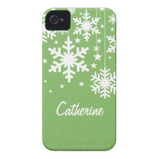 Snowflakes and Stars BT BB Bold Case, Green Case-Mate iPhone 4 Case