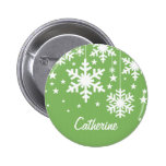 Snowflakes and Stars Button, Green